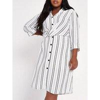 RI Plus Striped Waisted Shirt Dress - Multi, Ivory, Size 18, Women