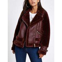 RI Petite Ri Petite Faux Fur Avaiator Jacket- Berry, Berry, Size 8, Women