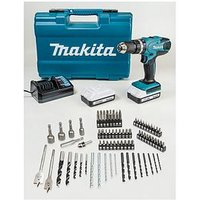 Makita 18-Volt G Series Combi Drill Complete With 2 X Li-Ion Batteries And 74-Piece Accessory Kit