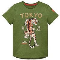 Boys, V by Very Tokyo Sequin Tiger Short Sleeve T-Shirt, Khaki, Size 14 Years