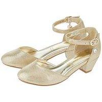 Monsoon Girls Emily Heart Two Part Tango Shoe, Gold, Size 2 Older