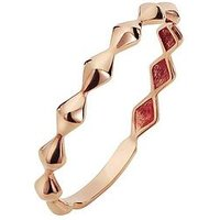 Love GOLD 9ct Rose Gold Stacker Ring, Rose Gold, Size L, Women