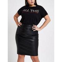 Ri Plus Pu Pencil Skirt - Black