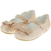Monsoon Baby Girls Elsie Bow Scalloped Walker Shoe, Pale Pink, Size 3 Younger