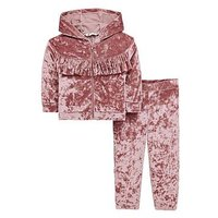 Mini V by Very Girls Velour Unicorn Diamante Back Slogan Outfit, Pink, Size Age: 2-3 Years, Women