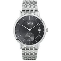 BOSS Corporal Black Sunray and Silver Detail Multi-Dial Stainless Steel Bracelet Strap Mens Watch, One Colour, Men