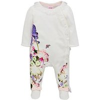 Baker by Ted Baker Baby Girls Placement Print Sleepsuit, Off White, Size Newborn