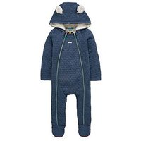 Baker by Ted Baker Baby Boys Borg Lined Quilted Snuggle Suit, Navy, Size 3-6 Months