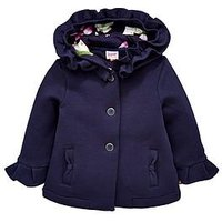 Baker by Ted Baker Baby Girls Frill Hooded Jacket, Navy, Size 3-6 Months