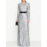 Perseverance London Paisley Sequins Shoulder Pad Gown - Silver
