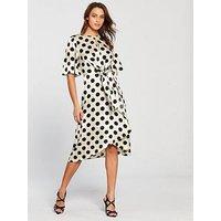 V by Very Polka Dot Jacquard Wrap Dress - Monochrome , Spot, Size 16, Women
