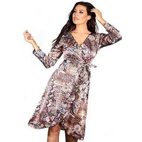 Sistaglam Loves Jessica SISTAGLAM LOVES JESSICA MIXED ANIMAL PRINT SLINKY WRAP DRESS, Multi, Size 12, Women
