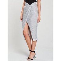 Lavish Alice Iridescent Sequin Twisted Front Midi Skirt - Silver