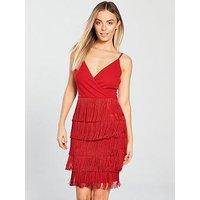 AX Paris Petite Fringe Detail Mini Dress - Red, Red, Size 6, Women