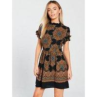 AX Paris Printed Fit And Flare Mini Dress - Black , Black, Size 16, Women