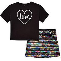 V by Very Girls Sequin Skirt & T-shirt Party Outfit, Multi, Size Age: 15 Years, Women
