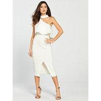 Lavish Alice Lavish Alice Scuba High Neck One Shoulder Midi Dress, White, Size 12, Women