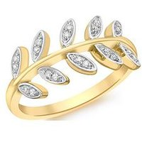 Love GOLD 9ct Gold White Cubic Zirconia Vine Ring, Gold, Size T, Women