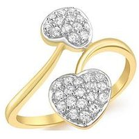 Love GOLD 9ct Gold White Cubic Zirconia Entwined Hearts Ring, Gold, Size T, Women
