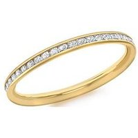 Love GOLD 9ct Gold White Cubic Zirconia Set Ring, Gold, Size V, Women