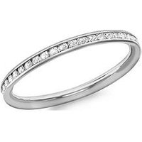 Love GOLD 9ct White Gold Cubic Zirconia Set Ring, White Gold, Size T, Women