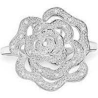 Love DIAMOND 9ct White Gold Diamond Set Rose Ring, White Gold, Size Q, Women