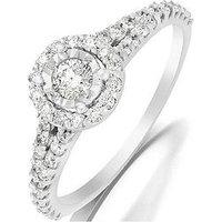Starlight 9ct Gold 1 Carat Look 60 Point Diamond Illusion-Set Halo Ring, White Gold, Size M, Women