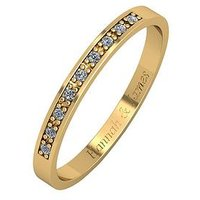 Love DIAMOND Personalised 9ct Gold 5 Point Diamond 2.5mm Wedding Band, White Gold, Size L, Women