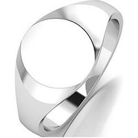 The Love Silver Collection Argentium Silver Oval Signet Ring, Silver, Size S, Women