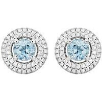 Love GEM Sterling Silver Sky Blue Topaz & Cubic Zirconia Round Double Halo Stud Earrings, One Colour, Women