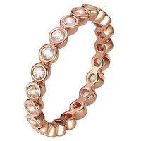 Love GEM Rose Gold Plated Sterling Silver Genuine Rose Quartz Eternity Ring, Rose Gold, Size R, Women