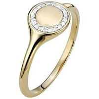 Love DIAMOND 9ct Gold 4 Point Diamond Round Signet Ring, Gold, Size R, Women