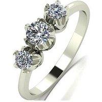 Love DIAMOND 9ct Gold 50 Point Diamond Trilogy Ring, Yellow Gold, Size L, Women