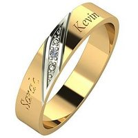 Love DIAMOND Personalised 9ct Gold Diamond Set 4mm Wedding Band, White Gold, Size O, Women