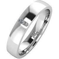 Love DIAMOND Argentium Silver Diamond Set 4mm Cushion Court Wedding Band, Silver, Size S, Women