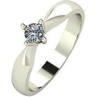 Love DIAMOND 9ct Gold 15 Point Diamond Solitaire Ring, White Gold, Size Q, Women