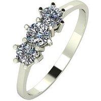 Moissanite 9ct Gold 1/2 Carat Eq Moissanite Trilogy Ring, White Gold, Size K, Women