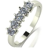 Moissanite 9ct Gold 1/2 Carat Eq Moissanite 5 Stone Eternity Ring, White Gold, Size S, Women