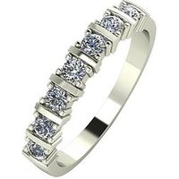 Moissanite 9ct Gold 1/2 Carat Eq Moissanite 7 Stone Eternity Ring, Yellow Gold, Size N, Women