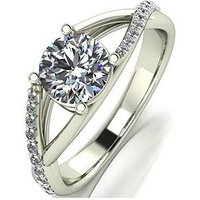 Moissanite 9ct Gold 1.2 Carat Eq Moissanite Solitaire Ring with Split Set Shoulders, Yellow Gold, Size U, Women