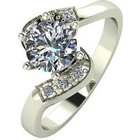 Moissanite 9ct Gold 1 Carat Eq Moissanite Twist Solitaire Ring, Yellow Gold, Size T, Women