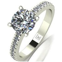 Moissanite 9ct Gold Lady Lynsey 1.4ct Total Round Brilliant Moissanite Solitaire Ring, Yellow Gold, Size N, Women