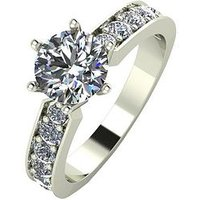 Moissanite 9ct Gold 1.5 carat Eq Moissanite Solitaire Ring with Set Shoulders, White Gold, Size H, Women