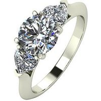 Moissanite 9ct Gold 1 Carat Eq Moissanite Round & Heart Shaped Trilogy Ring, White Gold, Size Q, Women