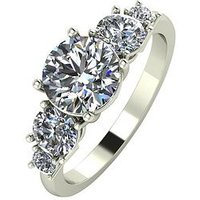 Moissanite 9ct Gold 2 Carat Eq Moissanite 5 Stone Tapered Ring, White Gold, Size Q, Women