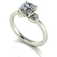 Moissanite 9ct Gold 1 Carat Eq Moissanite Solitaire Ring with Heart Set Shoulders, White Gold, Size R, Women