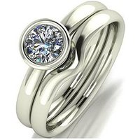 Moissanite 9ct Gold 1.1 Carat Eq Moissanite Bridal Set, White Gold, Size V, Women