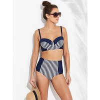 V by Very Shapewear Panelled High Waist Bikini Brief - Stripe, Stripe, Size 20, Women