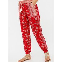 Monsoon Monsoon Priscilla Beach Print Trouser, Red, Size M, Women