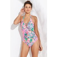 V by Very Lace Up Front Halter Swimsuit - Pink Print , Pink Print, Size 18, Women
